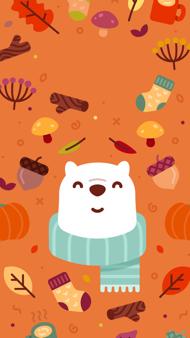 秋日小熊壁纸 iPhone 壁纸