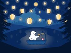 Lanterns & Luna Bear - iPad Wallpaper