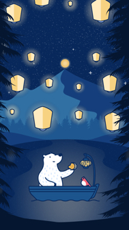 Lanterns & Luna Bear - iPhone Wallpaper