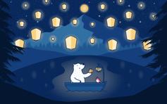 秋日小熊壁纸 Mac/桌面 壁纸