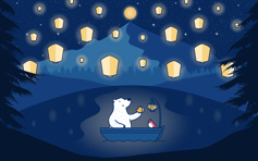 Lanterns & Luna Bear - Mac Desktop Wallpaper